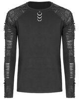 Punk Rave Mens Dieselpunk Top Black Gothic Shredded Long Sleeve Decayed T Shirt