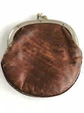 Antique Distressed Brown Leather Coin Mini Wallet/Pouch/Case