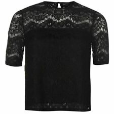 Lace Crew Neck Short Sleeve Regular Size T-Shirts for Women