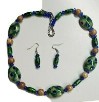 Handmade Lucite Green Blue Peacock,Crystal Wood Beaded NECKLACE & earrings Set