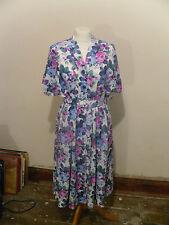 "VINTAGE DRESS RETRO 1980'S 90'S DOES  40'S/50'S TEA DRESS ROSES BUST 36"" 12/14"
