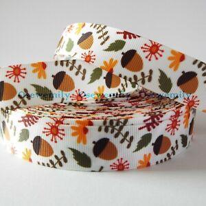 Per Metre - Acorns - 22mm wide Printed Grosgrain Ribbon /Cake/ Bow