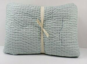 Pottery Barn Pick Stitch Handcrafted Quilt Full Queen Porcelain Blue #6559