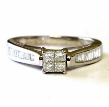 14k white gold womens .64ct diamond engagement princess invisible ring vintage