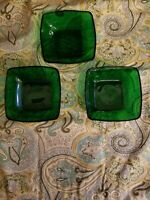 Vintage Square VERECO France Forest Green Emerald Glass 3 Berry Snack Bowls XCL!