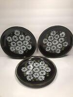 3 MIKASA DINNER PLATES RAVENNA 7505 ''MAJORCA'' DAISIES ON BROWN JAPAN  10 1/2''