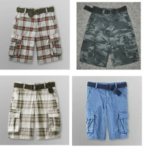 Boys Cargo Shorts Route 66 Adj Waist Belted Camo red Blue Flat Front-5, 6, 8, 10