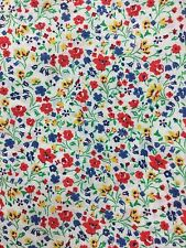 1 Meter of Linen Cotton Multi-coloured Mini Flower Floral Print Fabric