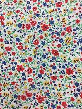 1 Meter of Linen Cotton Multi-coloured Mini Flower Floral Print Fabric