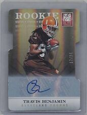 TRAVIS BENJAMIN 2012 ELITE STATUS GOLD DIE CUT ROOKIE AUTO RC #D 17/24