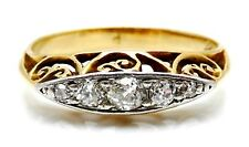 VICTORIAN Solid 18k Yellow Gold / Diamonds Ladies Ring Size 3.75