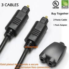 3FT Digital Optic Audio Toslink Cable ,3 Packs+Toslink Digital Audio Splitter