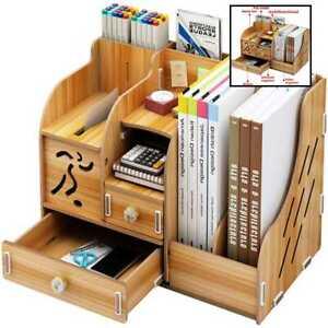 School Supply Storage DIY Wooden Desk Organizer W Drawer Pen Holder Box Desktop