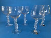 Lot Of 5 Golden Crown E&R France Art Glass Frosted Nude Wine Brandy Glasses Erte