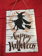 "Happy Halloween Decor Wall Door Sign 13""x9"" Witch On Broom"