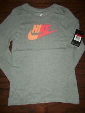 NWT NIKE GIRLS GRAY GRAPHIC LOGO LS TEE:  SIZE L (10/12)