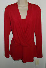 WOMENS TOP SIZE LARGE ECI NEW YORK TRUE RED STRETCH NEWw/TAGS RETAIL $60