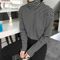 Womens Long Sleeves Casual Tops Black & White Striped Blouse Turtleneck T-shirt