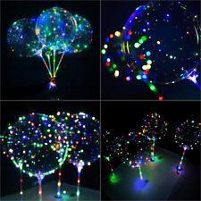 """Set 20"""" Ballon Transparent Avec LED Lumineux Corde Bâton Décoration Fête Mariage"""