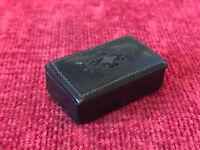Vintage Very Small Bakelite Pill Box Hinged Lid Decorative Inlay Trinkets
