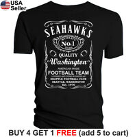 Seattle Seahawks T-Shirt JD Whiskey Graphic SEA Men Cotton JD Whisky