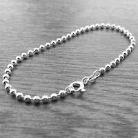 "Genuine 925 Sterling Silver 6.5"" 2.5mm Bead Ball Chain Charm Bracelet"