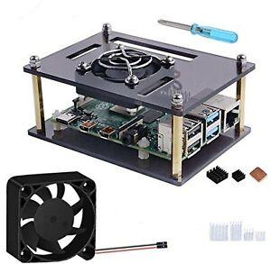 GeeekPi Raspberry Pi 4 Acrylic Case, Raspberry Pi 4 Case with 40mm Large Fan ...