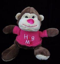 "Walmart Hug Me Brown Pink Monkey Plush Soft Toy Heart Stuffed Animal 8"""