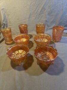 Lot of Vintage Fenton Marigold Iridescent Carnival Glass Butterflies and Berries