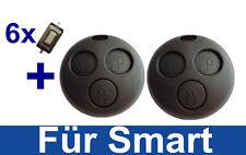 2x Auto Ersatz Schlüssel Gehäuse für Smart ForTwo-MC01 450 +6x MICRO TASTER
