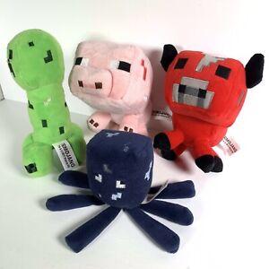 Mojang Minecraft Plush Soft Toy Bundle Pig Mooshroom Red Cow Creeper Blue Squid
