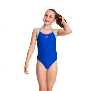 Zoggs Junior Girls Kerrawa Strikeback Blue Swimsuit Ages 6 - 14 Years