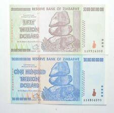 2008 - 100 & 50 TRILLION Dollar - Zimbabwe - Unc Notes - Set 2 Authentic