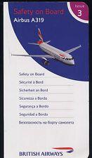 BRITISH AIRWAYS Safety Card Airbus A 319 airline ISSUE 3 sc664 ax