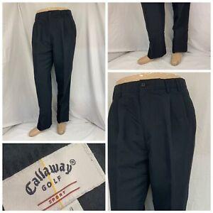 Callaway Golf Pants 32x30 Black Pleat Rayon Polyester Mint Worn Once Flipz A688
