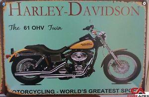 HARLEY Vintage Tin Bar Sign, Motorcycle Sign, Great for man cave or bar 16 OHV