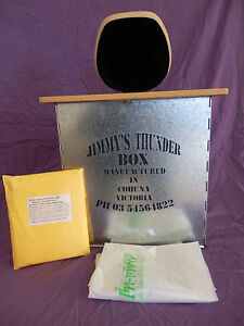 JIMMY'S THUNDERBOX  CAMP TOILET  BLACK MDF SEAT WITH 6 IN VIRO BAGS