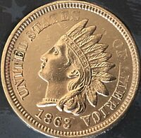 1863 INDIAN HEAT PENNY 4  DIAMONDS  ***BEAUTIFUL COIN***Cleaned
