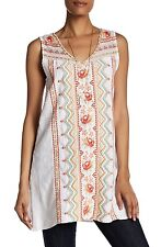 NWT JOHNNY WAS L SLEEVELESS LINEN EMBROIDERED LONG TUNIC TOP DRESS WHITE LARGE
