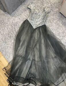 Dark Green Silver Prom Bridesmaid Dress Toole Veil, Shoulder Pads