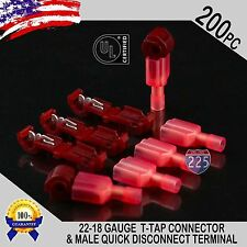 (200) T-Taps + Male Disconnect Wire Connectors Red 22-18 AWG Gauge Terminals UL