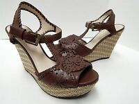 Jack Rogers Salinger 5.5 M Coffee Brown Leather Straw Platform Wedge Sandals