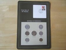 Coins of The Republic of Indonesia.  carded, 7 coins Uncirculated