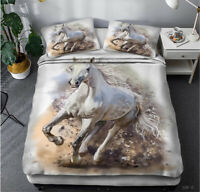 3D Galloping White Horse Doona Duvet Cover Queen Bedding Quilt Cover PillowCase