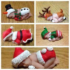 "5 x OOAK 2.5"" Christmas Polymer Clay Sleeping Baby Figurines Santa Rudolph Elf"
