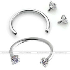 16g 1pc CZ Steel Nose Lip Eyebrow Ear Cartilage Helix Captive Hoop Ring Piercing
