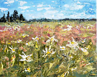 BLAIR RUSSELL - Summer Meadow with Flowers - Original Abstract Acrylic Painting
