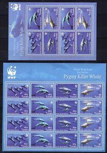 2x Tuvalu - WWF /  Pygmy Killer Whale  on postage stamps MNH** F104