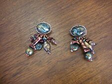 Vintage Designer Dangle Beaded Earrings Turquoise Rust Gold Colors  Karen Eagle