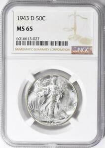 1943-D Walking Liberty Half Dollar - NGC MS-65 - Mint State 65